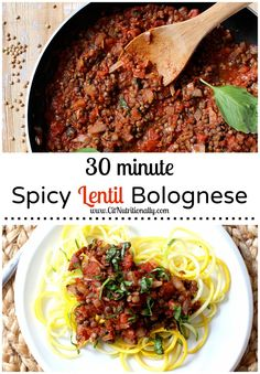30 Minute Spicy Lentil Bolognese {Vegan, Gluten Free, Grain Free, Dairy Free} - C it Nutritionally