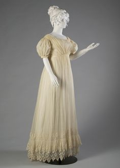 Sheer cotton gauze dress, ca. 1815-20 When dressed, the undergarments make the sheerness of the dress less apparent.