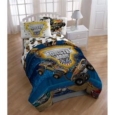 For Will           @Overstock.com.com.com - Monster Jam 'Destruction' 5-piece Bed in a Bag with Sheet Set - This Monster Truck-themed bedding set is sure to get your kid excited for bedtime. This set includes a flat sheet, a fitted sheet, a comforter and either 1 or 2 pillowcases, depending on size.  http://www.overstock.com/Bedding-Bath/Monster-Jam-Destruction-5-piece-Bed-in-a-Bag-with-Sheet-Set/7951940/product.html?CID=214117 $59.99