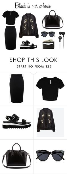 """Black is our colour"" by observatoria on Polyvore featuring мода, Alexander McQueen, Love Moschino, Zara, Givenchy, Le Specs и Original Penguin"