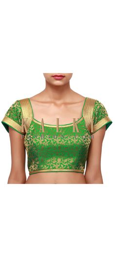 Buy Online from the link below. We ship worldwide (Free Shipping over US$100). Product SKU - 302947. Product Link - http://www.kalkifashion.com/featuring-green-and-gold-brocade-blouse-only-on-kalki.html
