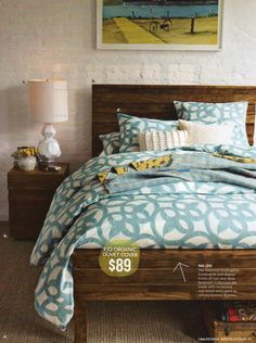 Beautiful arrangement of blues and browns to create a relaxed atmosphere with a one of a kind style.  #BluePatternDuvet, #CustomDuvet, #CustomBeddingDecor
