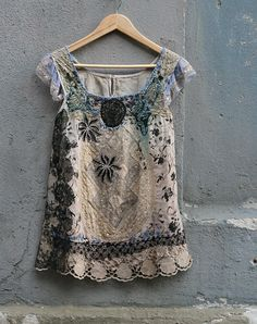branches in mist--  romantic linen top with antique laces, embroidery and beading, textile collage, bohemian romantic