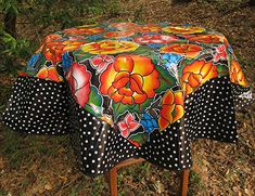 Frida on Black with Polka-dot Trim round Mexican Oilcloth Tablecloth