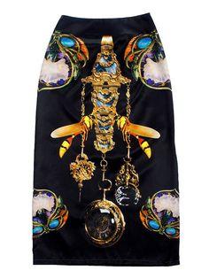 FABITORIA 2013 Prefall digital printed maxi skirt by FABITORIA Long Skirt Looks, A Level Textiles, Ankle Length Skirt, Printed Maxi Skirts, Modest Dresses, Dress Collection, Digital Prints, Black Maxi, Jewels