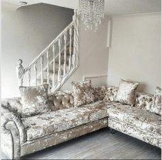 A Victoria Collection Corner Sofa - House of Sparkles #exclusive #sofa #crushed #velvet #corner #glam #sparkles
