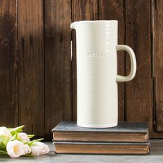 "Embossed ""Water"" Grey Pitcher 