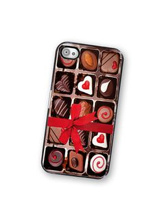 Box of Chocolates iPhone Case, fits iphone 4 and iPhone 4S - Black Trim