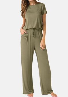 Womens Jumpsuits, Rompers And Overalls - LAINAB Women's Casual O Neck Loose Wide Legs Jumpsuits with Pockets: Clothing Jumpsuit Outfit, Casual Jumpsuit, Tailored Jumpsuit, Fashion Pants, Fashion Outfits, Wide Pants, Long Pants, Jumpsuit With Sleeves, Family Outfits