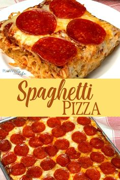 Spaghetti Pizza Casserole is one of our all-time favorite family meals because it is a combination of the basics, spaghetti and pizza! Pepperoni, cheese and pizza sauce on a spaghetti crust is food that kids will eat and it's super easy to make! Pizza Recipes, Casserole Recipes, Cooking Recipes, Pepperoni Pizza Casserole Recipe, Skillet Recipes, Cooking Gadgets, Crockpot Recipes, Free Recipes, Pizza Spaghetti Casserole