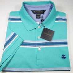 BROOKS BROTHERS Golden Fleece Multistripe S/S Polo Shirt AQUA GREEN Large NWT #BrooksBrothers #PoloRugby