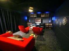 MOVIE ROOM 2 maybe a dark grey , with red and black accents