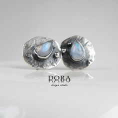 Minima moonstone silver studs with moonstone by DORAbluedesign