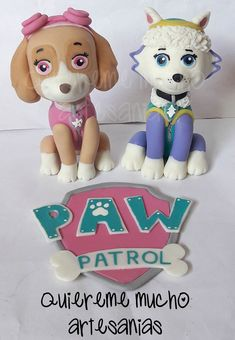 SKYE AND EVEREST PAW PATROL CAKE TOPPER COLD PORCELAIN