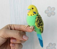 Crochet parrot PATTERN Tutorial PDF Green Budgie Realistic