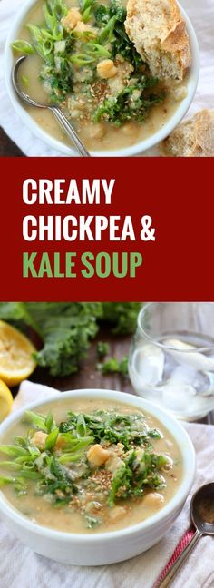 Hearty, healthy kale is simmered up in this chickpea soup that gets a rich creaminess from tahini, and a light zip from lemon.