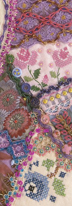 I like the bits with the cross stitch -- could incorporate unfinished pieces into crazy quilt projects.