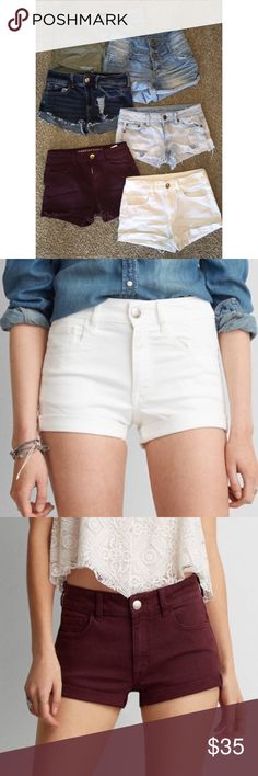 HUGE SALE! 6 Pairs of American Eagle Shorts! This bundle consists of all size 4 American Eagle shorts. There are 6 pairs in great condition! 2 distressed pairs (light blue and dark blue), 1 olive pair, 1 high rise light blue pair with triple buttons, 1 white pair, and 1 burgundy pair! Priced to go! The original price for each was 39.95 to 49.95. American Eagle Outfitters Shorts Jean Shorts