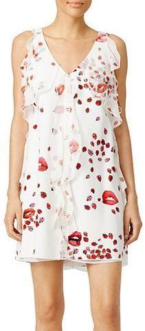 Lips & Ladybugs Print Ruffle Shift Dress