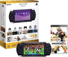 PlayStation Portable Limited Edition Madden NFL 11 Entertainment Pack - Piano Black Madden NFL 11 is the version of EA Sports' classic video game football Baby Apps, Playstation Portable, Blacked Videos, Madden Nfl, Classic Video Games, Ea Sports, Mini Games, Nintendo Consoles, Games Consoles
