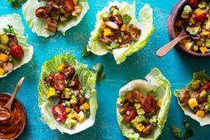 Chipotle chicken lettuce cups with mango-avocado salsa