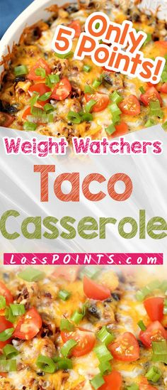 Feb 2020 - This Weight Watchers Taco Casserole Recipe is a variation of my favorite Weight . They are just easy and always taste great and this one, at just one WW point Ww Recipes, Mexican Food Recipes, Cooking Recipes, Healthy Recipes, Weight Watcher Dinners, Weight Watchers Diet, Taco Casserole, Casserole Recipes, Party