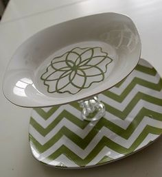 $5 Challenge -- 3 different Dollar Store Tiered Tray Ideas {and a Chevron stencil printable}