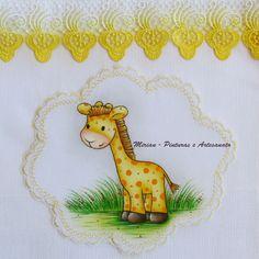 "Fralda Passeio - 70 x 70 cm - Fralda Cremer Pinte & Borde / Pintura à mão. Girafinha  ""Safari"""
