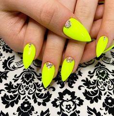 lovely neon gel nail art design
