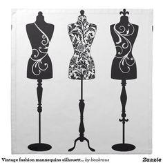 Siluetas de los maniquíes de la moda del vintage servilletas imprimidas