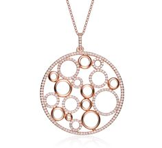 Women's Sterling Silver Rose Gold Plated Circle Drop Pendant with Cubic Zirconia   Family owned and operated, J. Ryan Fine Jewelry is committed to the satisfaction of its customers. We are supported by a team of seasoned diamond, gemstone and jewelry experts that are ready to assist you with all your fine jewelry needs. ...