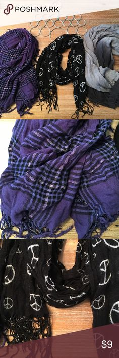 Set of 3 Scarves & Scarf Hanger Good used condition. Ombré gray, black and white peace sign & purple plaid with some sparkle. :) Accessories Scarves & Wraps
