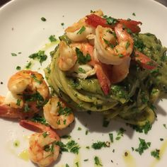 Pasta with mazzancolle prawns & zucchine