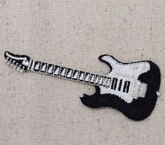 50s Guitar Iron on Applique High quality, detailed embroidery applique. Can be…