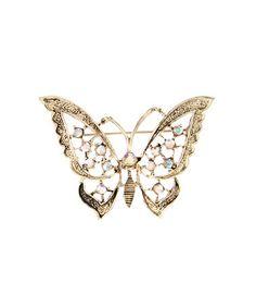 Another great find on #zulily! Czech Crystal & Goldtone Butterfly Brooch #zulilyfinds