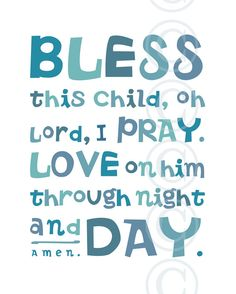 Pink Bless This Child prayer Christian Word Art by jeannewinters