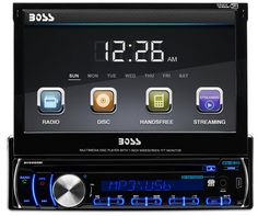 BOSS AUDIO BV9986BI Single-DIN 7 inch Motorized Touchscreen DVD Player Receiver, Bluetooth, Detachable Front Panel, Wireless Remote. 85 Watts x 4 Max Power, RDS Tuner, Balance/Fader/Bass/Treble and Preset built-in EQ. Plays DVD/CD/USB/SD, MP3, WMA, FM/AM and Smart Phones. Compatible with Audio out from Smartphones and MP3 Players. USB, SD, Aux, AV, Rear Camera, Steering Wheel Control Inputs. Video, Front, Rear & Sub Pre Amp Outputs. Detachable Panel, Wireless Remote, Multi Color…