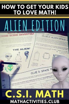 Teaching math to your students can be fun when you use CSI math activities or worksheets. This CSI alien math activity will engage your elementary or middle school students as they use math (multiplication, area, time, & fractions) to figure out which ali