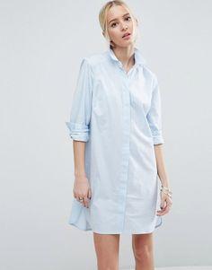 ASOS Blue Cotton Shirt Dress