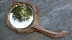 """(DIY for my Dad). This is a beautiful and rustic handcrafted spalted maple hand mirror, sculpted in a beautiful and natural form. """"Spalting"""" is the start of the decay process when a fungus  creates the interesting lines and colors."""