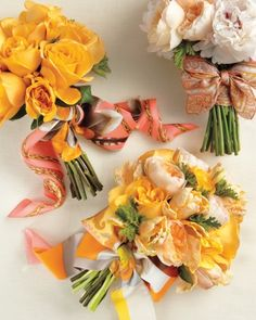 #bridesmaids #wedding Silk Scarf Bouquets Say thanks for taking part in your day by giving each bridesmaid a beautiful silk scarf. Buy a few styles in your color palette, then have the florist tie them around the flowers.