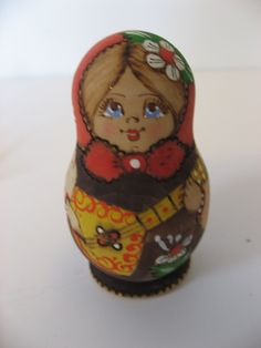 vintage woodburned Polish/Czech Matryoshka nesting dolls. set of 5 handmade wood dolls. by PickleladyVintage on Etsy