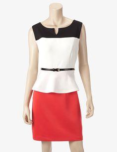 Belted Colorblock Peplum Dress