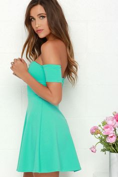 Tea Cup Mint Green Off-the-Shoulder Dress at Lulus