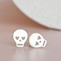 Silver Skull Earrings, Skeleton Earrings, Pirate Earrings, Sugar