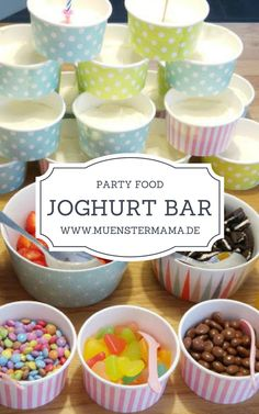 Yogurt bar for kids birthday with cheesecake cream recipe - Conny E. Joghurt Bar für Kindergeburtstag mit Cheesecake-Creme Rezept A yogurt bar is a great idea for kids birthday, carnival, Easter, wedding, family reunions and other occasions! Party Buffet, Snacks Für Party, Cream Recipes, Kids Meals, Food And Drink, Birthdays, Birthday Cheesecake, Drinks Bar, Tea Drinks