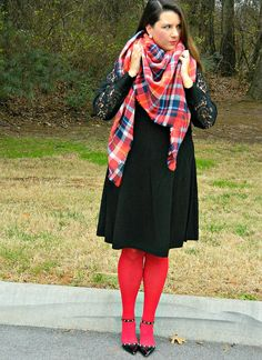 Lace Sleeves and Red Tights- wearing @solesociety heels, @gwynniebee dress, Aerie blanket scarf and J. Crew earrings