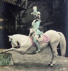 very rare this hand tinted French photo postcard of a lady circus artist (Mademoiselle Marville) on her horse. She performed at the Moulin Rouge in Paris the Belle Epoque era Photographer: Walery, Paris Postally not used, with undivided backside so Old Circus, Night Circus, Vintage Circus, Circus Book, Photo Postcards, Vintage Postcards, Vintage Photos, Circo Vintage, Circus Performers