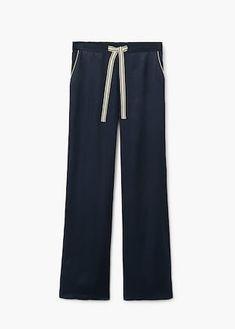 Satinert bukse med kanter