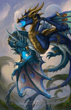 Suky Blue dragon fantasy art paintings